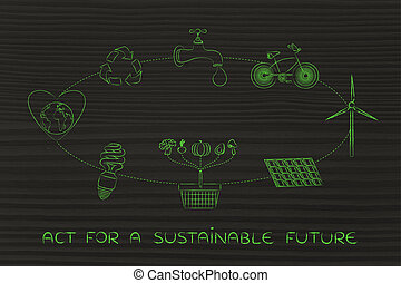 sustainable development diagram, act for the future