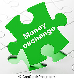 Banking concept: Money Exchange on puzzle background