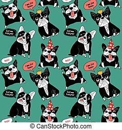 Dog French bulldog happy animals color seamless pattern....