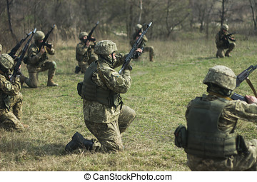 Military soldiers at tactical exercises