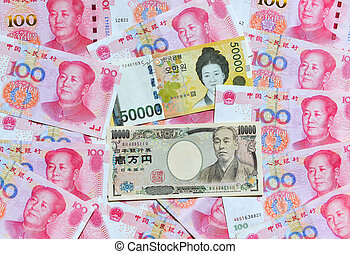 South Korean Won, Japanese yen, and Chinese RMB