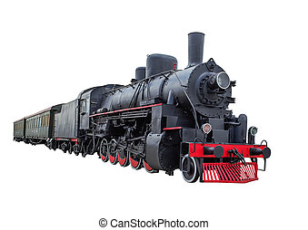 Steam locomotive with wagons - Train with steam locomotive...