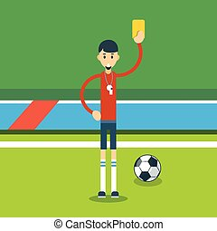 Football Referee Show Yellow Card Flat Vector Illustration