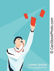 Football Referee Whistle Show Red Card Flat Vector...