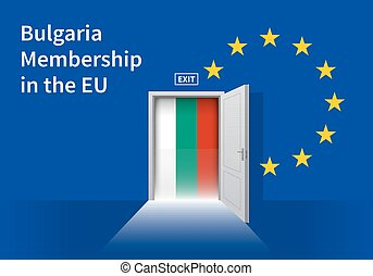 European Union flag wall with Bulgaria flag door EU Flag -...
