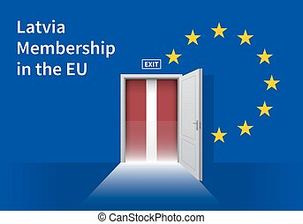 European Union flag wall with Latvia flag door EU Flag -...