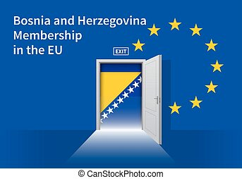 European Union flag wall with Bosnia and Herzegovina flag...