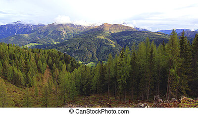 view on a valley in the austrian alps