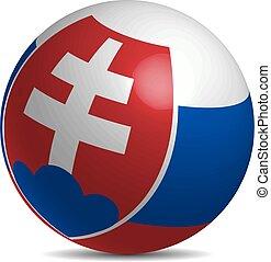 Slovakia flag on a 3d ball with shadow, vector illustration