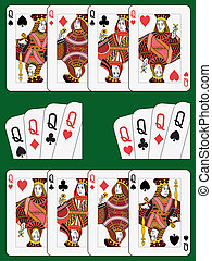 Four Queens - Playing cards: four queens in four different...