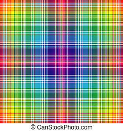 Seamless rainbow checkered pattern with white strips (vector...