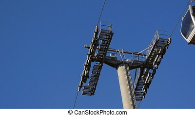 Montjuic cable car - Moving cabin of gondola lift. Montjuic...