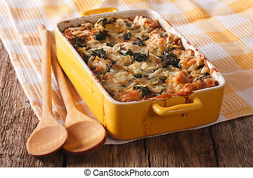 Strata casserole with spinach close up Horizontal - Strata...