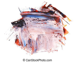 photo colorful grunge brush strokes oil paint isolated on...