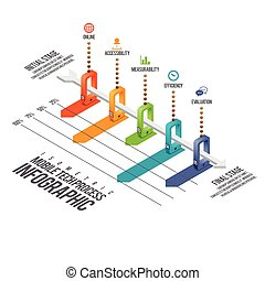 Mobile Tech Process Infographic - Vector isometric...