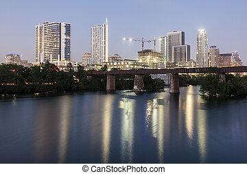 Downtown Austin at night,Texas