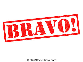 BRAVO! Rubber Stamp - BRAVO! red Rubber Stamp over a white...