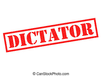 DICTATOR red Rubber Stamp over a white background