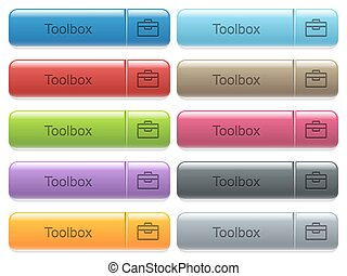 Toolbox captioned menu button set - Set of toolbox glossy...