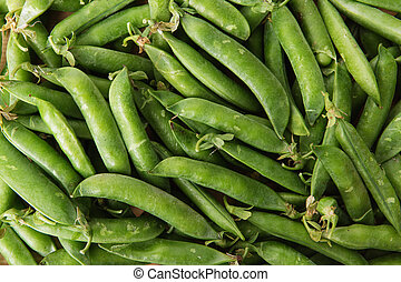 green pods with peas as background. - green peas in pods...