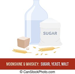 Moonshine and whiskey. Ingredients for fermentation -...
