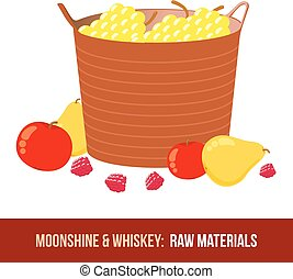 Moonshine and whiskey Harvest raw materials - apples, pears,...