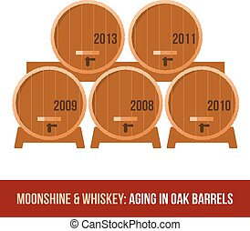 Moonshine and whiskey. Oak barrel. - Shelving in the cellar...