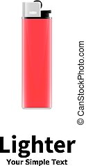 Vector illustration of a red lighter isolated on white...