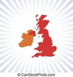 UK and Eire outline map over circular stripes