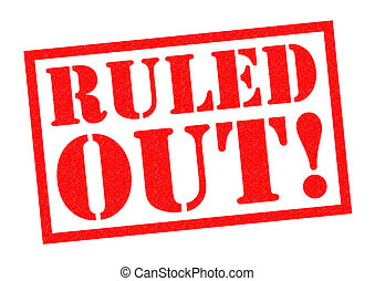 RULED OUT red Rubber Stamp over a white background