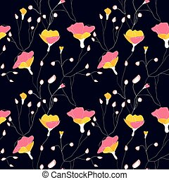 Wild flowers seamless pattern - Wild flowers and branch...
