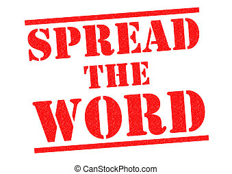 SPREAD THE WORD red Rubber Stamp over a white background