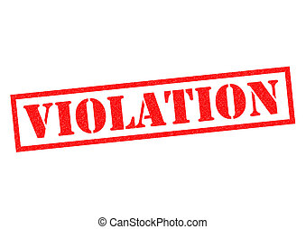 VIOLATION red Rubber Stamp over a white background.