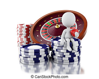3d White people with casino roulette wheel, chips and dice.