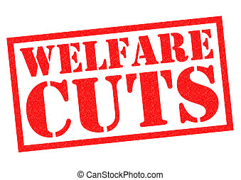 WELFARE CUTS red Rubber Stamp over a white background
