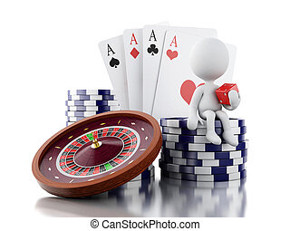 3d White people with casino roulette wheel, chips, poker cards and dice.