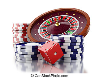 3d Casino roulette wheel with chips and dice.