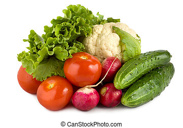 Health food - Fresh vegetables isolated on white background