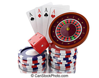 3d Casino roulette wheel with chips, poker cards and dice.