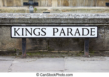 Kings Parade in Cambridge - The street sign for historical...