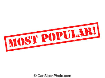 MOST POPULAR! red Rubber Stamp over a white background.