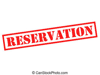 RESERVATION red Rubber Stamp over a white background.