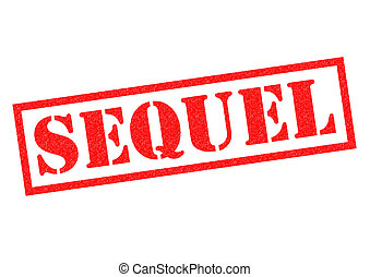 SEQUEL red Rubber Stamp over a white background