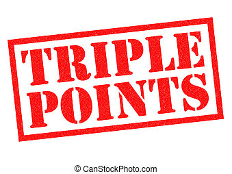 TRIPLE POINTS red Rubber Stamp over a white background.