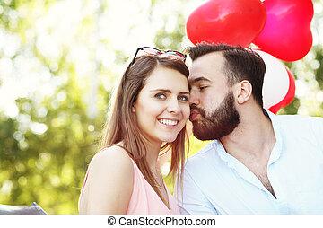 romanticos, par, com, bexigas