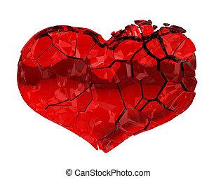 quebrada, Coração, -, unrequited, Amor,...