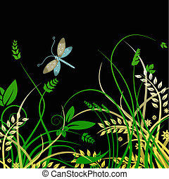 dragonfly and foliage