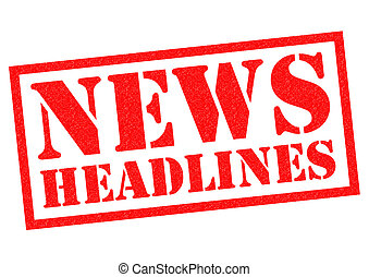 NEWS HEADLINES Rubber Stamp - NEWS HEADLINES red Rubber...