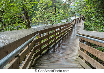 River Walkway - An elevated walkway follows the Snoqualmie...