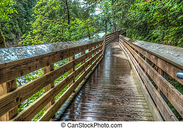 River Walkway HDR - High dynanic range image of an elevated...